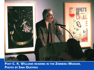 Poet C. K. Williams reading in the Zimmerli Museum. Photo by Sina Queyras.